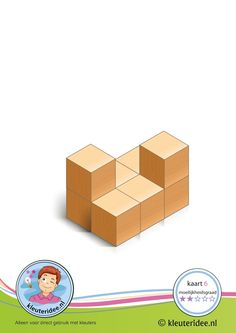 50 cards: Bouwkaart 6 moeilijkheidsgraad 2 voor kleuters, kleuteridee, Preschool card building blocks with toddlers 6, difficulty 2