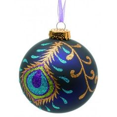 blue peacock christmas ornement