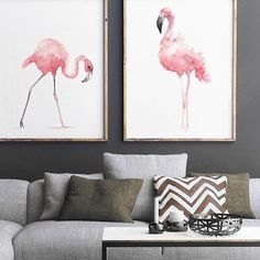 Flamingo Nursery Poster Kids Illustration Children Blush Pink Watercolor Painting, Set of 2 Birds, Abstract Art Print, Flamingos Room Decor - All For Herbs And Plants Watercolor Paint Set, Watercolor Paintings Abstract, Pink Abstract, Abstract Flowers, Abstract Art, Floral Watercolor, Art Flowers, Original Paintings, Nursery Room Decor