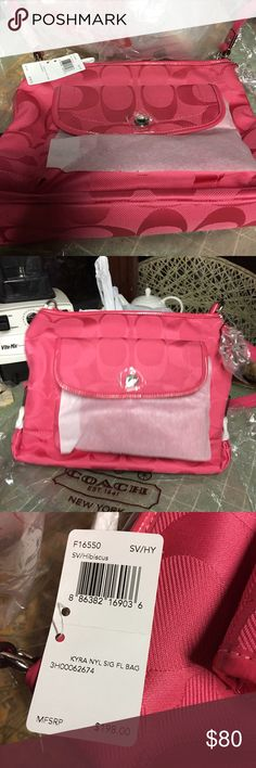Brand new coach pink adjustable length strap Brand new with tags Coach's medium size handbag hibiscus color pink. Can't find my ruler to measure but if you know coach products this is not a small bag or XL. Falls in the medium in my mind. $198 priced 50% off Coach Other