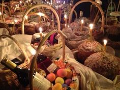 Traditional Pascha baskets laid out for blessing