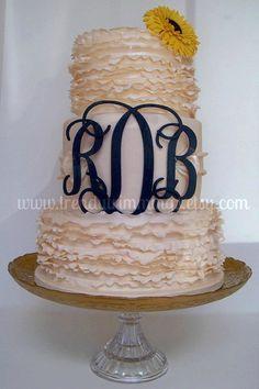 "6"" Wooden Monogram Cake Topper by TrendyTrimmings on Etsy, $20.00"