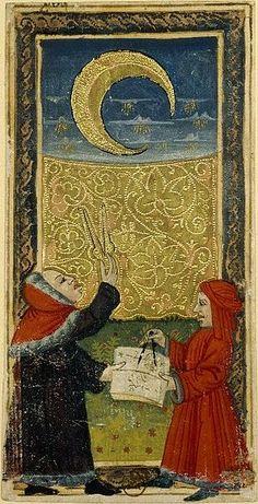 Italie du Nord Tarot dit de Charles VI : La Lune Fin du XVe siècle (trans: Northern Italy Tarot of Charles VI said: Moon End of the fifteenth century) Medieval Art, Renaissance Art, Le Tarot, The Moon Tarot, Art Carte, Tribute, Spiritus, Major Arcana, Oracle Cards