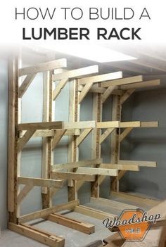 Shop Woodworking how to make a lumber rack - Improve your shop storage and organization with this quick project! Learn how to make this modular lumber rack and grab the easy to read diy plans! Lumber Storage Rack, Lumber Rack, Diy Garage Storage, Wood Rack, Shop Storage, Storage Ideas, Barn Storage, Easy Woodworking Projects, Woodworking Furniture