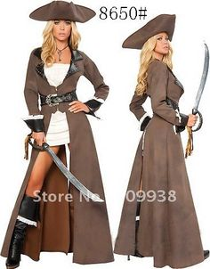 leather  long sleeve sexy pirate costume