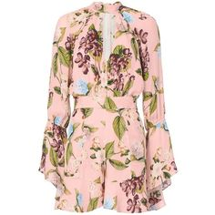 Nicholas Women's Evie Floral Bell Sleeve Romper (£505) ❤ liked on Polyvore featuring jumpsuits, rompers, floral, neck ties, playsuit romper, floral bell sleeve romper, pink rompers and floral necktie