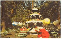Santa's Village Christmas Tree ride- sit in an oversized ornament and go around the tree and up and down. California Dreamin', Northern California, Santa's Village, Lake Arrowhead, Christmas Villages, Ol Days, Childhood Memories, Vintage Christmas, Christmas Bulbs