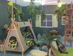 Award-winning 'Where the Wild Things Are' themed kids bedroom created by interior designer Nisha Stevens for this year's Grand Designs Live, featuring our Kids Teepee Cabin Bed! Boys Jungle Bedroom, Jungle Theme Rooms, Boy Toddler Bedroom, Big Boy Bedrooms, Jungle Room, Toddler Rooms, Baby Boy Rooms, Girls Bedroom, Childrens Bedroom Ideas