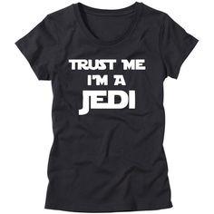 Womens Trust Me I'm a Jedi Shirt Girls Star Wars T-Shirt Funny Womens... (91 QAR) ❤ liked on Polyvore featuring tops, t-shirts, shirts, star wars, black, women's clothing, checkered shirt, tee-shirt, checkered top and t shirts