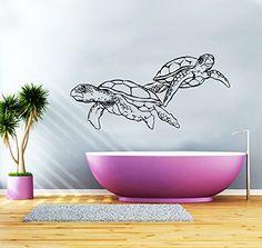 Turtle Wall Decal Vinyl Sticker Decals Tortoise Tortoiseshell Turtle Sea Animal Ocean Nautical Marine Decor Bathroom Bedroom Dorm Art ZX218 IncredibleDecals https://www.amazon.ca/dp/B017WEYE8U/ref=cm_sw_r_pi_dp_--g6wbMBSSDFG
