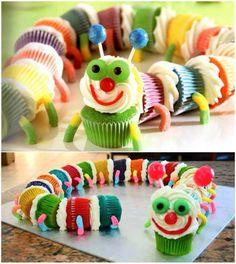 Rainbow caterpillar cupcake!