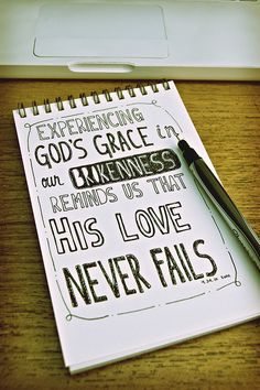 Experiencing God's grace in our brokenness reminds us that His love never fails. LOVE!!
