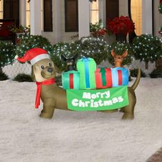 6 Ft. Airblown Lighted Holiday Dachshund