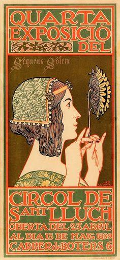 Art Nouveau Poster for the Fourth Exhibiton of the Cercle Artistic de Saint Lluch' - Alexandre de Riquer. Illustration Art Nouveau, Art Nouveau Poster, Art Deco Posters, Art Vintage, Vintage Posters, Belle Epoque, Pinturas Art Deco, Design Art Nouveau, Jugendstil Design