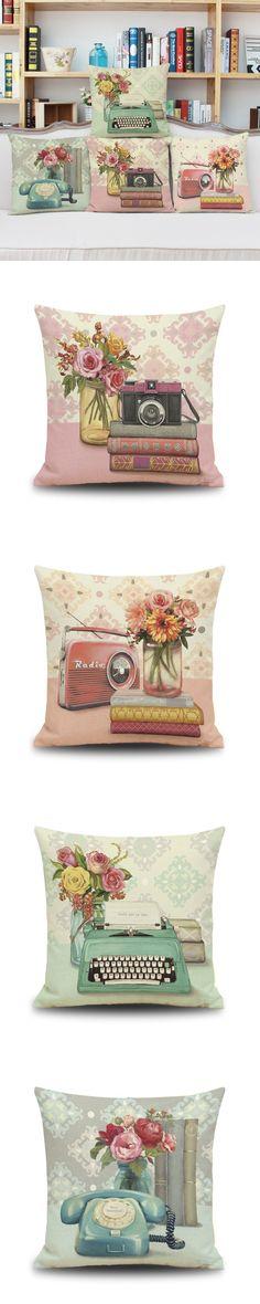 "Vintage Cinema Telephone Pillow Cover Retro Radio Home Decor Cushion Cover Linen Cotton Throw Pillows Pillowcase Pillowsham 17"" $5.85"