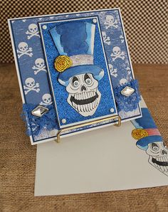 Skull and Top Hat  Handmade Greeting Card by EvermoreCardCreation, $6.50