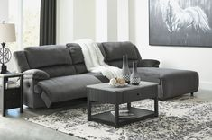 Clonmel - Power Reclining Sectional with Chaise by Signature Design by Ashley. Get your Clonmel - Power Reclining Sectional with Chaise at Winner Furniture, Louisville KY furniture store. Reclining Sectional With Chaise, Sectional Sofa With Recliner, Living Room Sectional, Home Living Room, Armless Chair, Charcoal Sectional, Sectional Sofa With Chaise, Sleeper Sofas, Condo Living