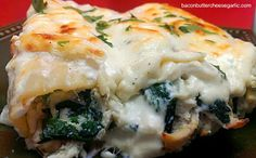 """Chicken, Spinach & Artichoke """"Manelloni"""" with a Cream Cheese Bechamel Sauce...It's to die for!"""