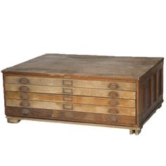 Gary Architect Drawers at Found Vintage Rentals. Coffee table made from set of 5 drafting drawers.