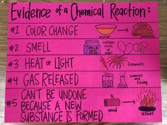 Anchor Chart: Evidence of a Chemical Reaction. use to teach the difference between physical and chemical changes. Chemical Science, Science Chemistry, Chemical Reactions, Science Education, Teaching Science, Teaching Tools, 7th Grade Science, Middle School Science, Chemical And Physical Changes