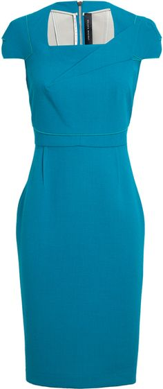 ROLAND MOURET Origami Folded Crepe Wool Pencil Dress - Lyst