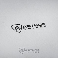 Create a simple, modern shield/seal logo for survival knife company Arthos by Kang Ji Mek