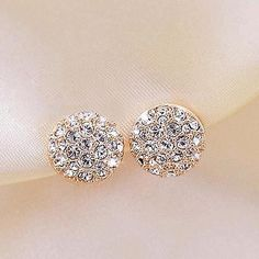 New round rhinestone earrings