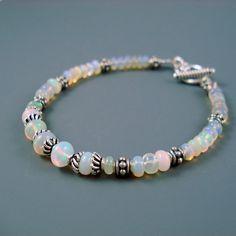 Opal Bracelet, Fiery Pastel Opal, Ethiopian Fire Opals and Oxidized Sterling Silver Bracelet, OOAK Opal Jewelry