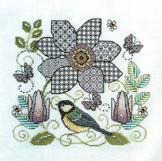 <b>Clematis Flower and Great Tit</b><br>Blackwork & Cross stitch pattern<br>by <b>Lesley Teare Designs</b> Blackwork Cross Stitch, Blackwork Embroidery, Learn Embroidery, Cross Stitching, Cross Stitch Embroidery, Hand Embroidery, Cross Stitch Patterns, Embroidery Stitches Tutorial, Embroidery Techniques