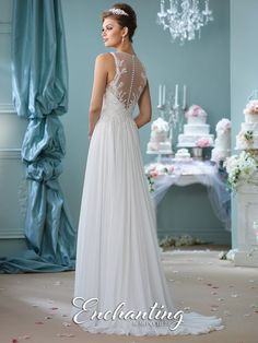 Enchanting by Mon Cheri - 116127 - Sleeveless chiffon A-line gown, illusion jewel neckline over a hand-beaded lace applique sweetheart bodice, illusion back with covered buttons and matching appliques, gathered layered skirt with chapel length train.  Sizes:0 – 20  Colors:Ivory, White