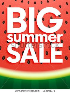 Big summer sale on watermelon surface texture with seeds. Vector illustration for banner, poster, flyer, card, postcard, cover, brochure.