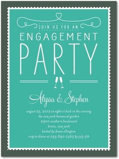 Signature White Engagement Party Invitations Stamp On Over - Front : Bay