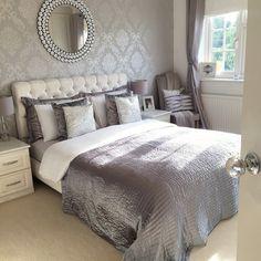 Master Bedroom Tour Update is part of Wallpaper bedroom - Glam Bedroom, Modern Bedroom Design, Master Bedroom Design, Home Decor Bedroom, Bedroom Wall, Silver Bedroom, Bedroom Ideas, Casa Disney, Dream Rooms