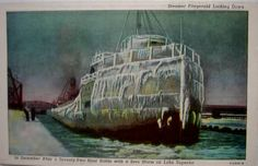 Vintage Postcard - Steamer Fitzgerald on Lake Superior by buzzybea on Etsy