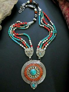 Turquoise Jewelry Stunningly beautiful Tibetan Tribal Necklace of Turquoise Red Coral, Bone, and Silver combined with metal. Contemporary well made Tribal Jewelry handcrafted in Nepal. Ethnic Jewelry, Tibetan Jewelry, Turquoise Jewelry, Bohemian Jewelry, Beaded Jewelry, Silver Jewelry, Beaded Necklace, Tribal Necklace, Coral Turquoise