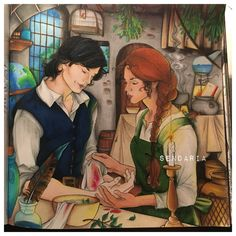 Dorian and Sorscha - Throne of glass colouring book - coloured by Sendaria