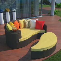 Taiji Outdoor Patio Wicker Daybed in Brown Yellow