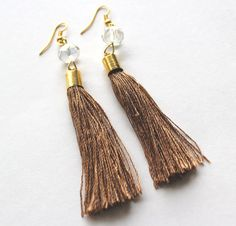 Tassle earrings cappuccino thread and bead dangle by Bunnys, $20.00