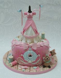 Cinderella Cake by Emma Jayne Cake Design Fancy Cakes, Cute Cakes, Pretty Cakes, Yummy Cakes, Fondant Cakes, Cupcake Cakes, Fondant Girl, Fruit Cakes, Bolo Original