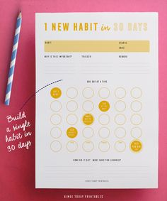 I just LOVE the look of this habit tracker kit! Love the bright colors and the fact it has motivational quotes tucked in there too :) The Ultimate Printable Habit Tracker Kit helps you build excellent, life-changing habits into your daily routine. Planner Inserts, Planner Template, Planner Pages, Printable Planner, Printables, Planner Ideas, Planner Supplies, Printable Designs, How Did It Go