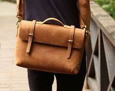 "Handmade Vintage Leather Briefcase / Leather Messenger Bag / 13"" 15"" MacBook 13"" 14"" Laptop Bag S21"