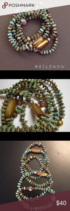 """PRICE DROPPED""""""""Silpada Bracelets Beautiful Set of 5 Blue Green stretch bracelets Silpada Jewelry Bracelets"