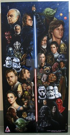 This is a large 36 x 18 inch oil painting featurung 54 Star Wars characters from both Trilogies set up with the light sabers framing the different trilo. Star Wars IS Forever Star Wars Logos, Star Wars Tattoo, Star Wars Poster, Star Wars Jedi, Star Wars Padme, Star Wars Fan Art, Star Wars Painting, Galaxy Painting, Amour Star Wars