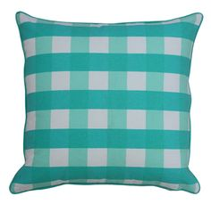 Mrs. Darcy Fabulous Checks Pillow- Apple $62.50 | Hattan Home, gingham, ada and darcy, mint, green, cushion, piping