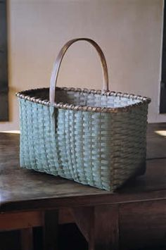 Rectangular carrier by Jonathan Kline. Painted robin egg blue exterior, white interior - Blackash Baskets