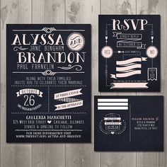 Modern Typography Chalkboard Wedding Invitation and RSVP Card Set - DIY Printable Invitation and RSVP Card $30.00