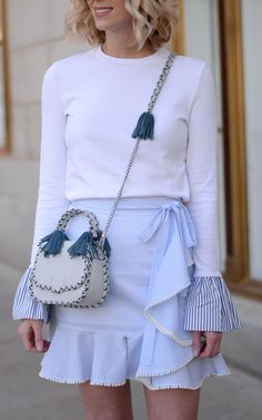 Blue Ruffle Skirt & Style on the Daily Linkup - Straight A Style