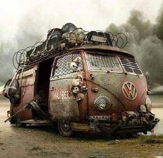 VW Bus - for the apocalypse Volkswagen Bus, Vw T1, Volkswagen Beetles, Vw Caravan, Vw Camper, Campers, Apocalypse World, Post Apocalypse, Wolkswagen Van