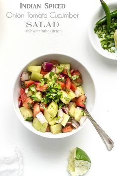 Kachumber is a very popular vegan Indian Salad. Its made with fresh veggies like onions, cucumber, tomatoes and tossed with some Indian. Indian Cucumber Recipe, Cucumber Recipes, Salad Recipes, Vegan Indian Recipes, Vegetarian Recipes, Healthy Recipes, Ethnic Recipes, Vegan Vegetarian, Indian Salads