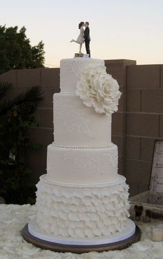 burlap lace ruffles cake | wedding cake with ruffles and lace - by sking @ CakesDecor.com - cake ...